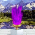 Violet Flame Chalice in front of the Tetons