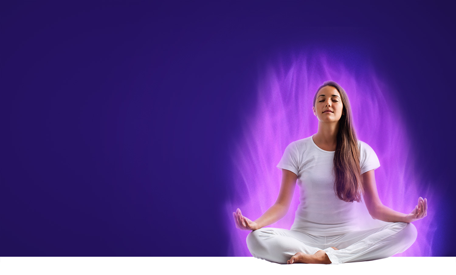 Woman meditating on the Violet Flame