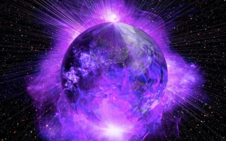visualize earth as a planet of violet fire